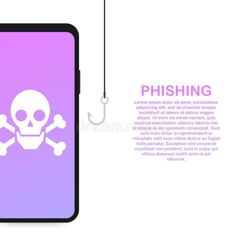 Phishing vía el ejemplo isométrico del concepto del vector de Internet Correo electrónico spoofing o que pesca mensajes ilustración del vector