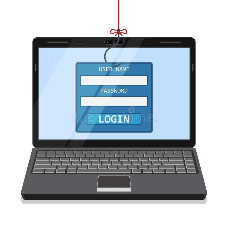 Phishing vía Internet stock de ilustración