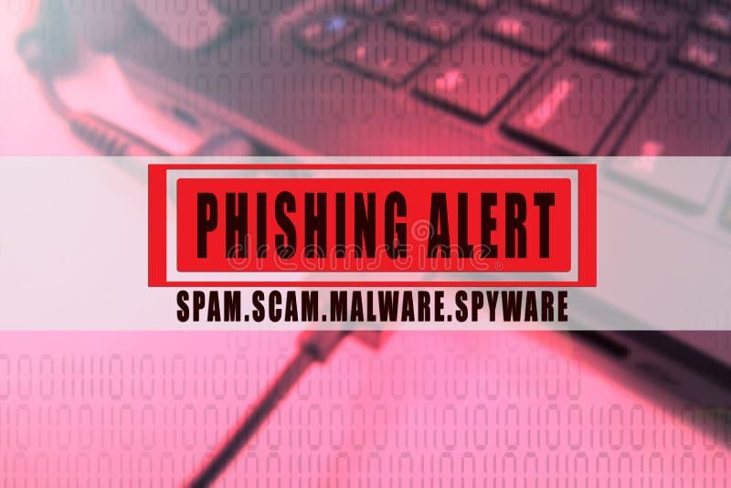 PHISHING-VARNING: SCAM SCAM, MALWARE, SPYWARE som ÄR BEGREPPSMÄSSIG med bärbar datorbakgrund arkivfoton
