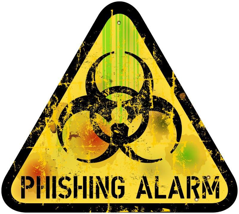 Phishing varningstecken royaltyfri illustrationer