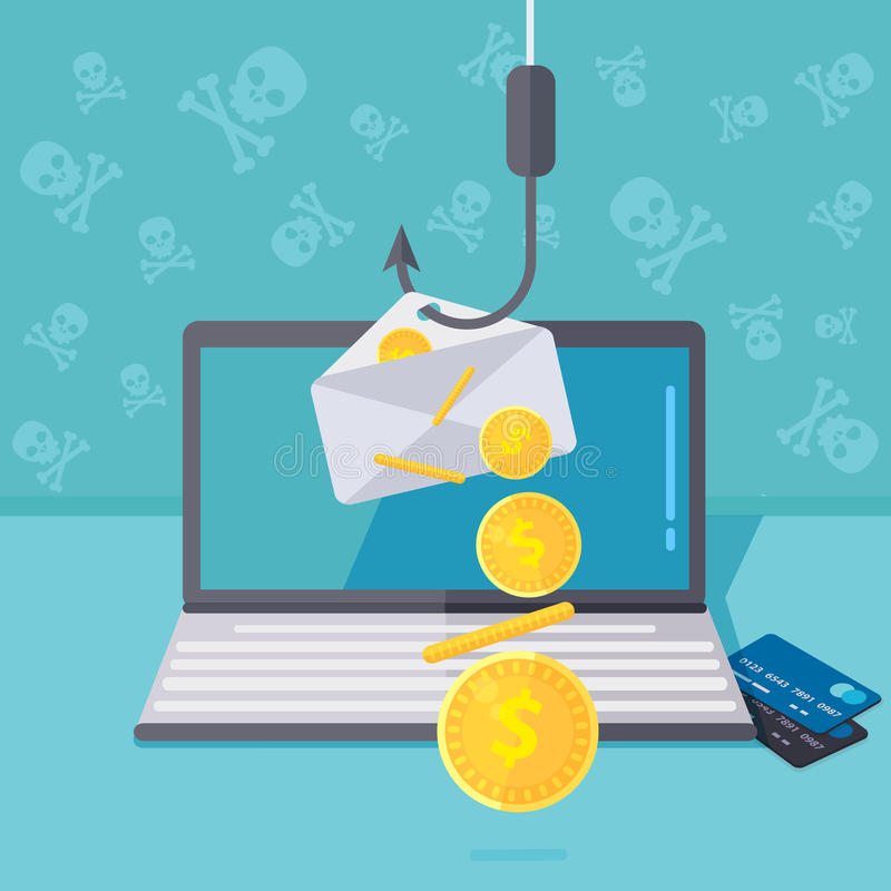 Phishing via de vectorillustratie van Internet Visserij door e-mailspoo vector illustratie