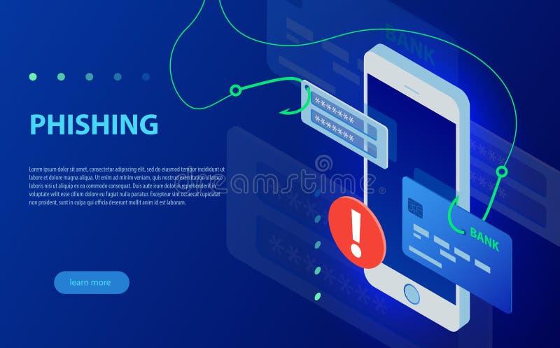 Phishing via för vektorbegrepp för internet isometrisk illustration Dataintrångkreditkort stock illustrationer