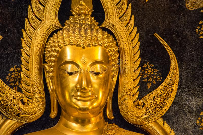 Phitsanulok golden buddha face royalty free stock photo