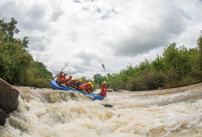 Phitsanulok Province,Thailand -August 2019 The many tourists in raft adventure on khek river is power full water in rainy season, stock photos