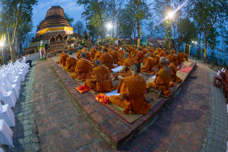 Phitsanulok Province, Thailand-2019 May, Many Buddhism sit down on big pagoda and Signal King Narasuan ,They are pray. And concentration in Vesak day, and stock photos