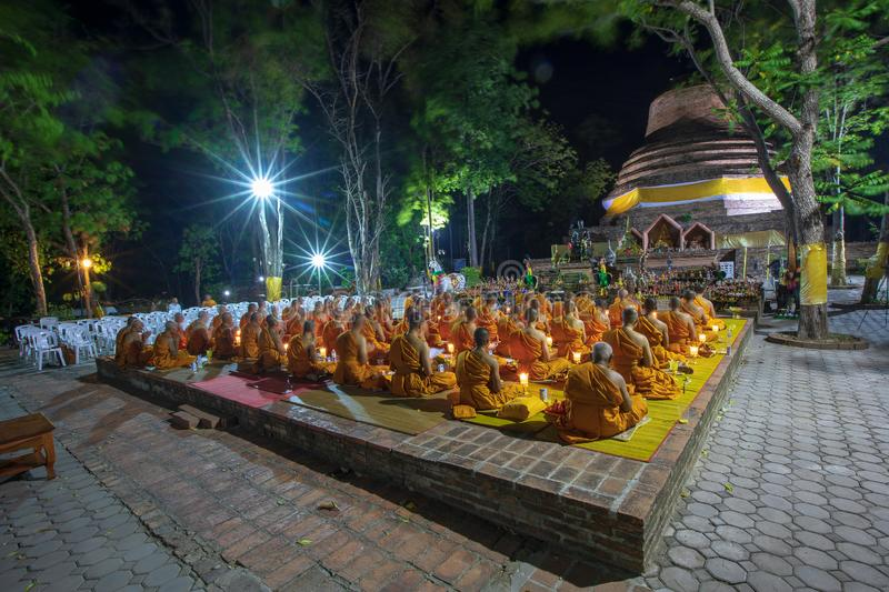 Phitsanulok Province, Thailand-2019 May, Many Buddhism sit down on big pagoda and Signal King Narasuan ,They are pray. And concentration in Vesak day, and royalty free stock images