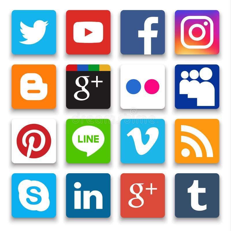 Phitsanulok Thailand - Oktober 22, 2016: Vektoruppsättning av den populära sociala massmediasymbolen med skugga i vit bakgrund stock illustrationer