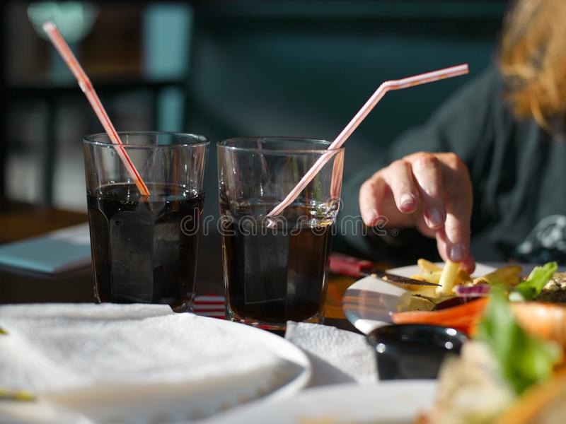 Phizzy drinks in glasses stock photography