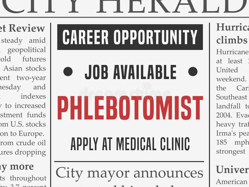 Phlebotomist medische carrière stock illustratie