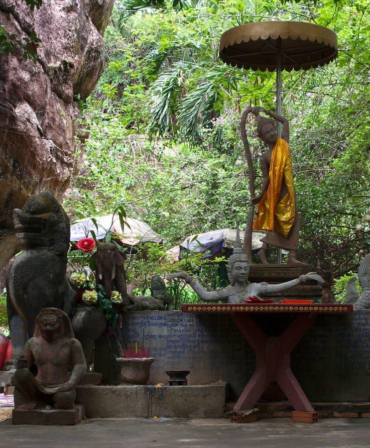 Phnom Kulen 内部视图 详细资料 库存照片