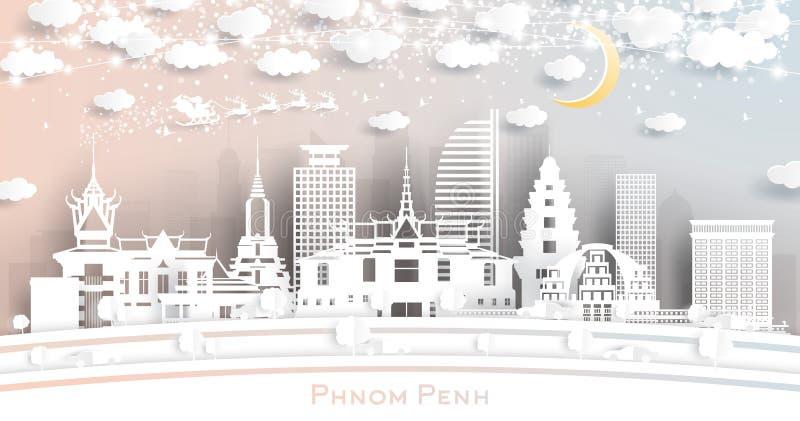 Phnom Penh Камбоджийский городской пейзаж в стиле Бумажной резки со снежинками, Луной и Неон Гарландом иллюстрация вектора
