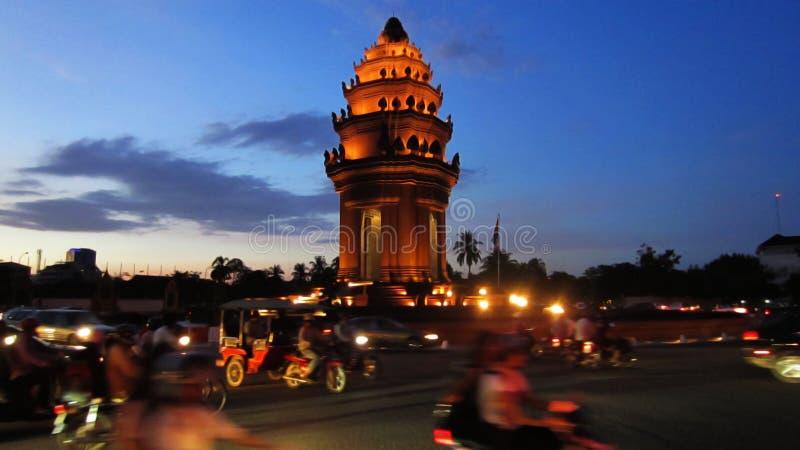 Phnom Penh bij Nacht stock foto's