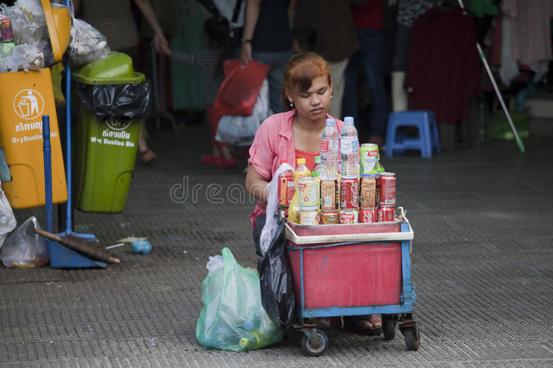 Soft drinks seller in Phnom Penh, Cambodia royalty free stock image