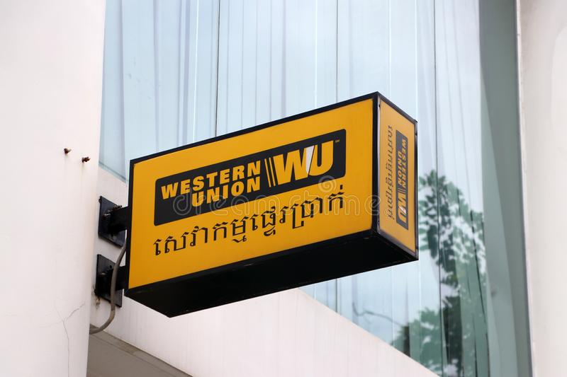 Sign box of Western Union in Cambodia, Western Union has several divisions, with products such as person to person money transfer stock image