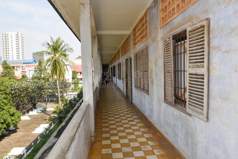 Prison Cell of S21 prison at Phnom Penh on Cambodia royalty free stock image