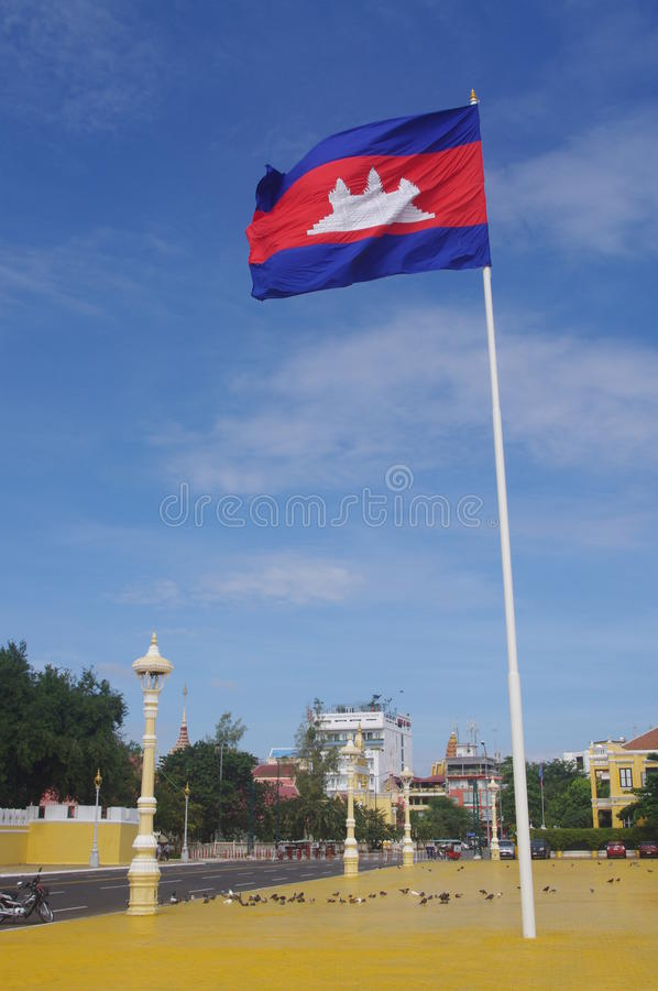 Download Cambodian Flag In Phnom Penh Stock Photo - Image: 39875646