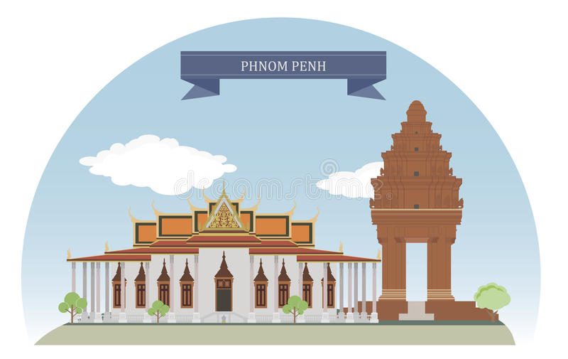 Phnom Penh, Kambodja stock illustratie