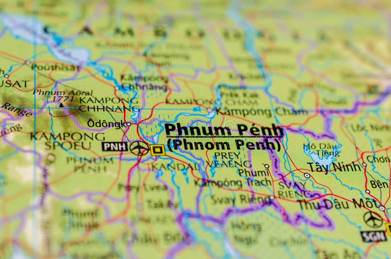 Phnom Penh op kaart royalty-vrije stock afbeeldingen