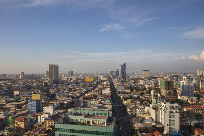 Phnom Penh Overview Daytime stock images