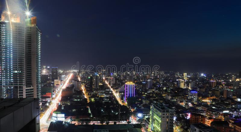 Phnom Penh Overview at Nighttime stock photography