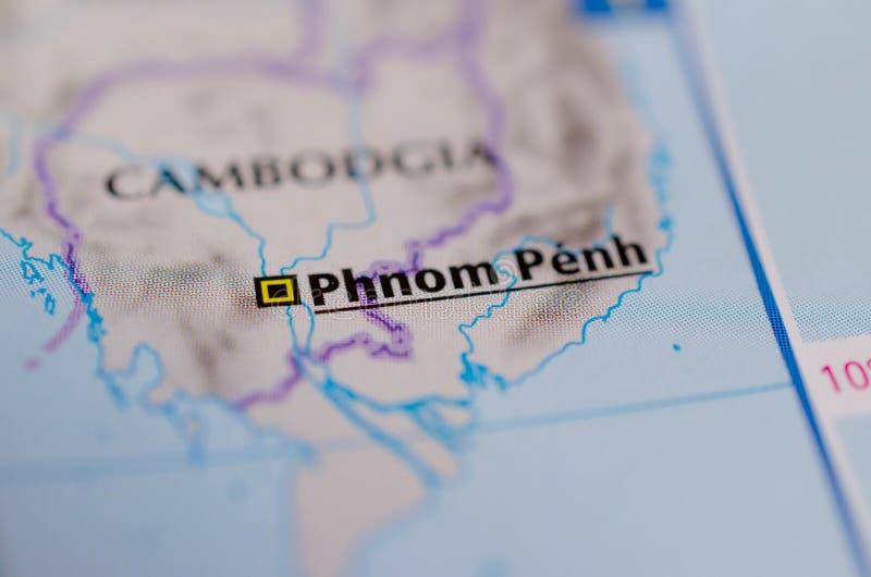Phnom Penh sur la carte photo libre de droits