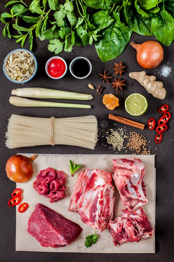 Pho Bo Soup Ingredients royalty free stock image