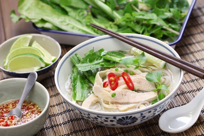 Pho ga,越南鸡米线汤 图库摄影