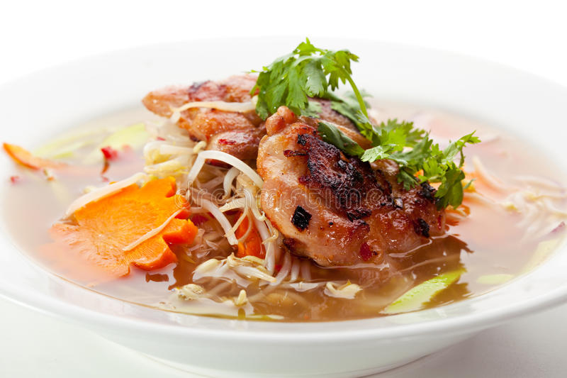 Pho Soup. Vietnamese Noodle Soup with Beef and Vegetables royalty free stock photography