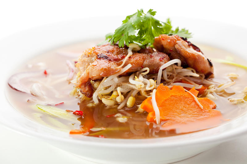 Pho Soup. Vietnamese Noodle Soup with Beef and Vegetables royalty free stock photo