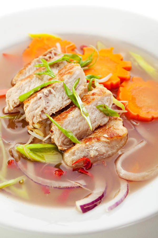 Pho Soup. Vietnamese Noodle Soup with Chicken and Vegetables royalty free stock photography