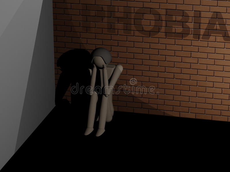 Phobia. A man suffering from phobia sitting huddled in the corner 3D rendering with wooden dolls royalty free illustration