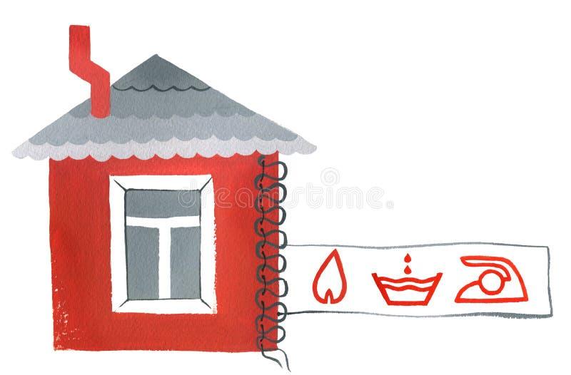Phobie und Manie, rotes Haus mit Versicherungsaufkleber lizenzfreies stockbild