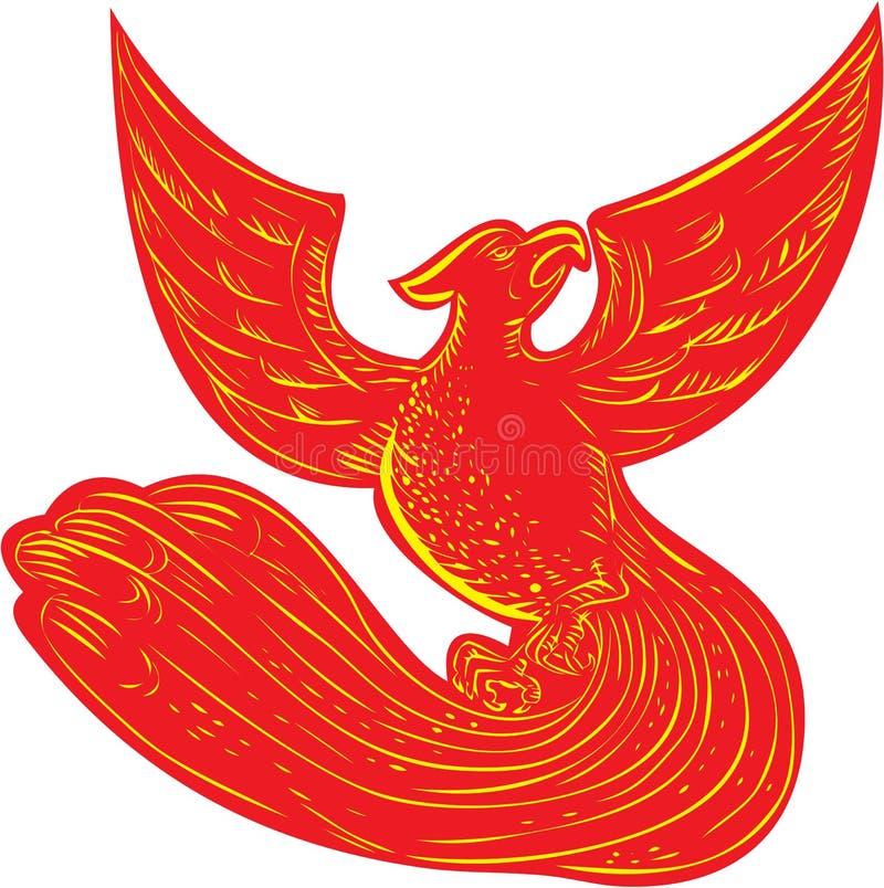 Phoenix που αυξάνεται χαρακτική απεικόνιση αποθεμάτων