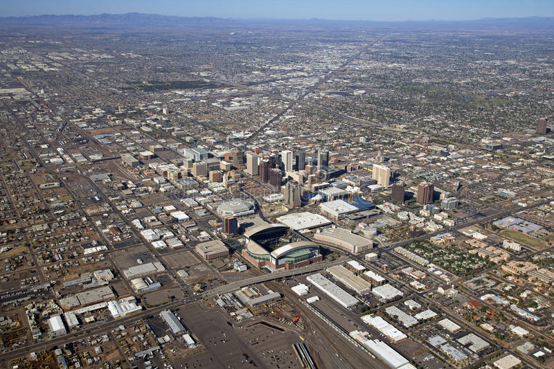 Phoenix from 3,500 Feet. Aerial view of the city of Phoenix, Arizona royalty free stock image