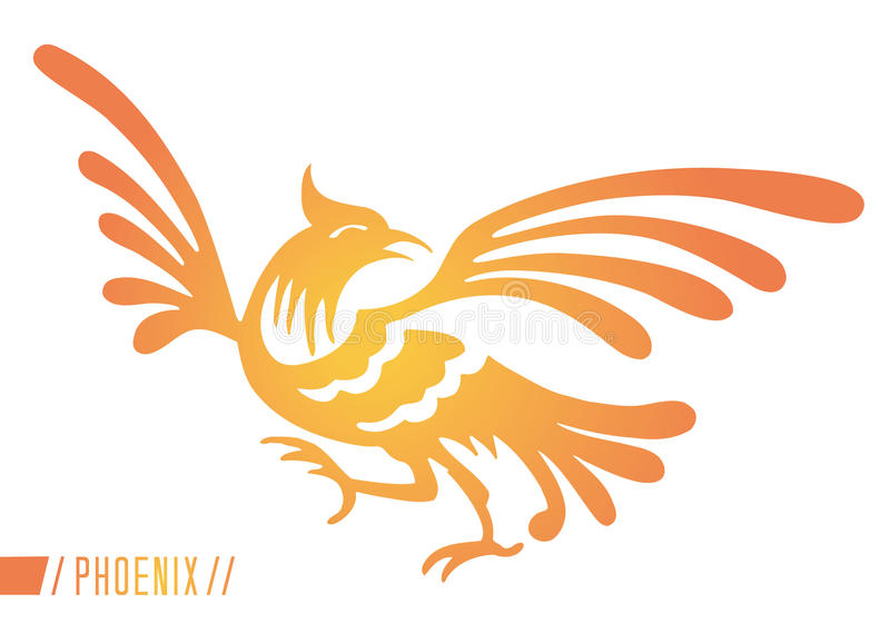 Phoenix. An abstract and modern yellow and orange representation of the mythical Phoenix, a rare bird, rising from the ashes, a rebirth and new start ancient stock illustration