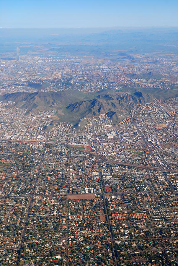Phoenix Aerial View, Arizona. With buildings and CamelBack mountain stock photo