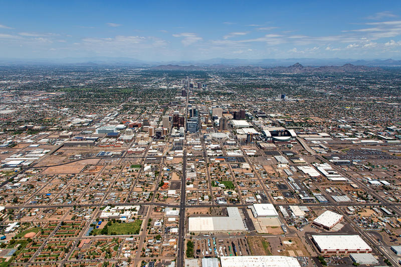 Phoenix, Arizona. Aerial view from south to north up Central Avenue of Phoenix, Arizona and the Valley of the Sun royalty free stock photos