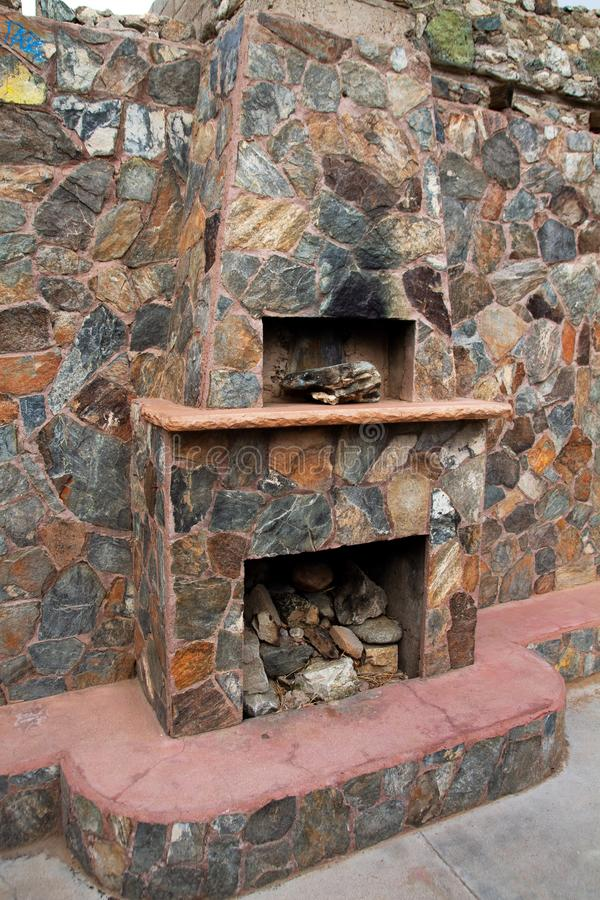Phoenix Arizona Historic Landmark Scorpion Gulch. The fireplace of Scorpion Gulch store. It is located in South Mountain Park in south Phoenix, Arizona, on stock images
