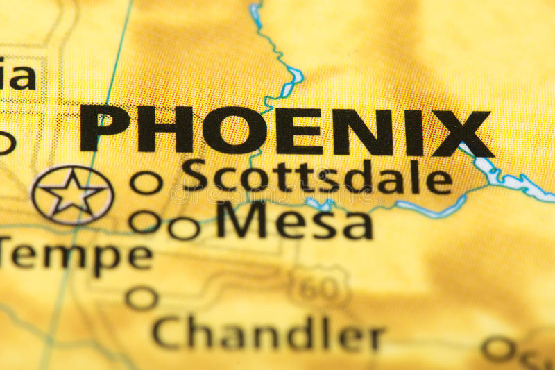 Phoenix, Arizona on map. Closeup of Phoenix, Arizona on a political map of the United States stock images