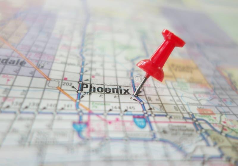 Phoenix Arizona map macro. Red pin in a map of Phoenix Arizona royalty free stock image