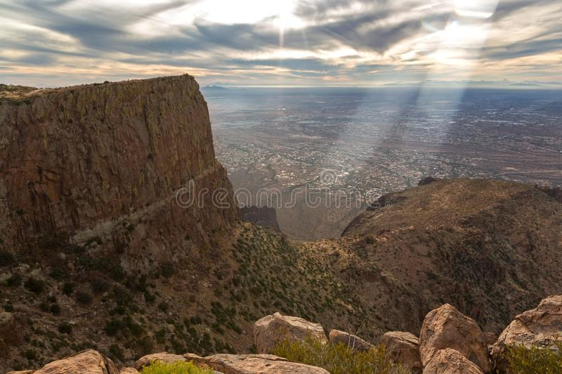 Phoenix Arizona Metropolitan Area from Flatiron Peak in Lost Dutchman State Park royalty free stock photography