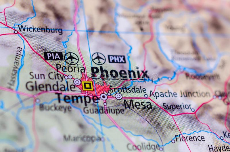 Phoenix, Arizona op kaart royalty-vrije stock foto