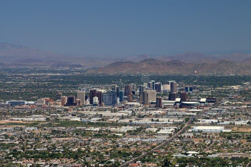 Phoenix, Arizona Skyline. The Phoenix, Arizona skyline as photographed from South Mountain stock images