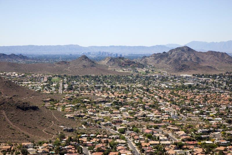 Phoenix, Arizona Skyline. Red Tile Rooftops and the Phoenix, Arizona Skyline royalty free stock photo
