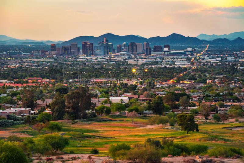 Phoenix Arizona skyline at sunset. Aerial view of Phoenix Arizona skyline at sunset stock image
