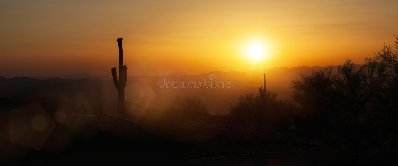Phoenix Arizona Skyline Sunset Horizontal Banner stock photos