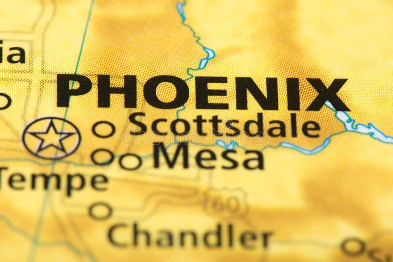 Phoenix, Arizona sur la carte images stock