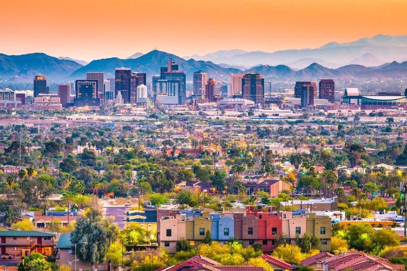 Phoenix, Arizona, USA Cityscape. Phoenix, Arizona, USA downtown cityscape at dusk royalty free stock images