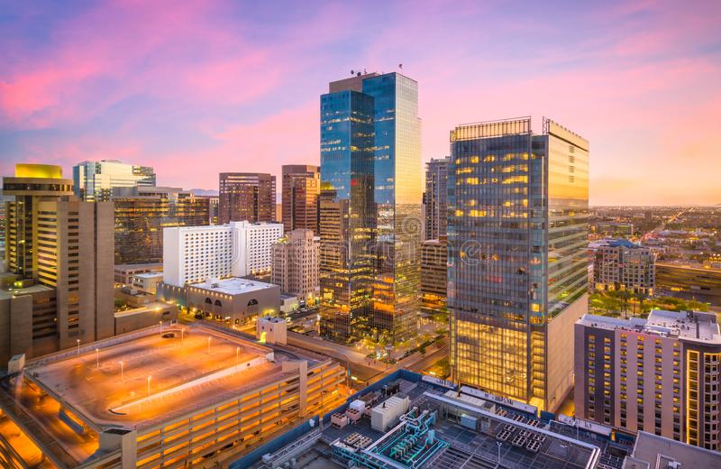 Phoenix, Arizona, USA Cityscape. In downtown at sunset royalty free stock photo