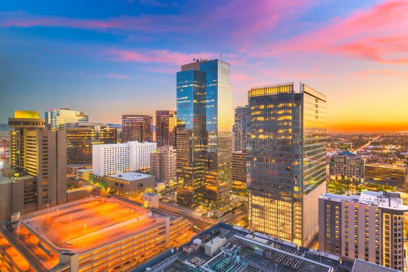 Phoenix, Arizona, USA Cityscape. In downtown at sunset royalty free stock photo